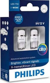 Светодиодные лампы T10 / W5W PHILIPS X-tremeUltinon LED 6000К 127996000KX2 (пара)
