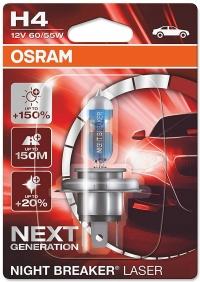 Галогенная лампа H4 OSRAM NIGHT BREAKER LASER NEXT GENERATION +150%