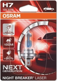 Галогенная лампа H7 OSRAM NIGHT BREAKER LASER NEXT GENERATION +150%