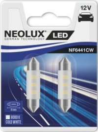 Пара светодиодных ламп NF6441CW-02B - LED Interior 6000 K 41.0 mm SV8.5-8