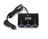 Разветвитель прикуривателя  AVS CS317U 12/24 (на 3 выхода+USB)