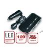 Разветвитель прикуривателя  AVS CS212U  12/24 (на 2 выхода+USB) со светодиодной подсветкой