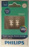Светодиодные лампы W5W / T10 PHILIPS Ultinon LED 6000К 11961ULWX2 (пара)